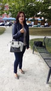 bunda Orsay tričko a kalhoty CA kabelka a boty Deichmann náhrdelník DM drogérie hodinky New Yorker