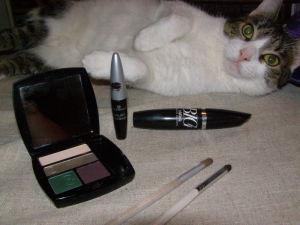 oční stíny Sultry Emerald, Avon tekuté linky, Essence řasenka Big and Daring, Avon štetec bílý, ELF